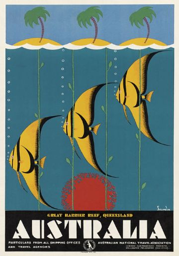 Great Barrier Reef. Vintage Australian Travel Poster.